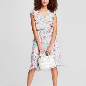 A New Day Floral Print Faux Wrap Dress